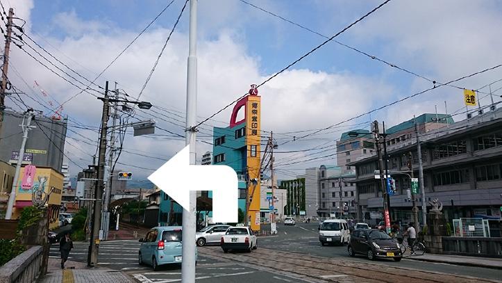 熊本市電B系統(上熊本方面行き)の線路に沿って洗馬橋電停を目指し、洗馬橋を渡ったら左折