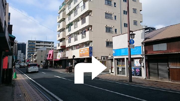 洗馬橋を左折したらすぐ右手に「みずもとスポーツ店」が見えるので、その交差点を右折。